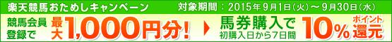 楽天競馬おためしキャンペーン(9月)