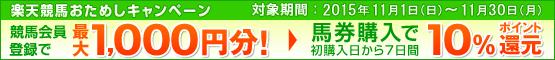 楽天競馬おためしキャンペーン(11月)